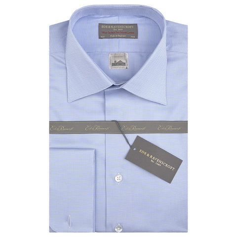 Sylvan Blue and White Sea Island Micro Check Shirt