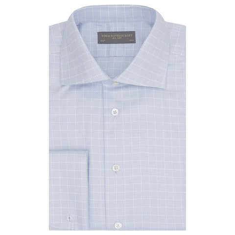 Adrian Blue and White Textured Check Shirt