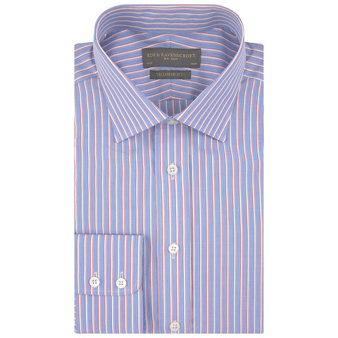Alex Blue White and Red Engineered Stripe Shirt