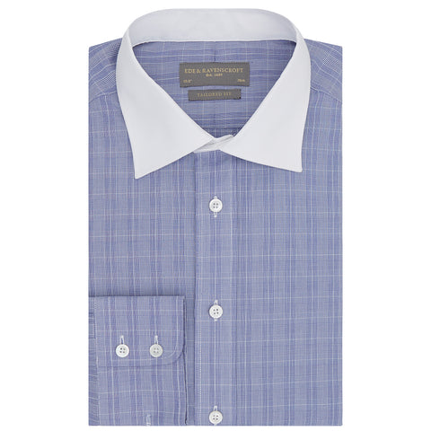 Alex Blue and White Prince of Wales Check Shirt