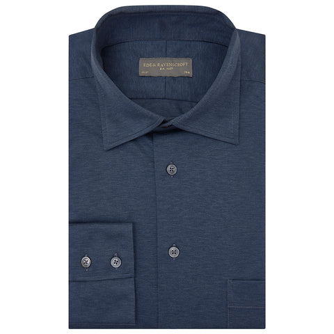 Andre Blue Melange Cotton Shirt