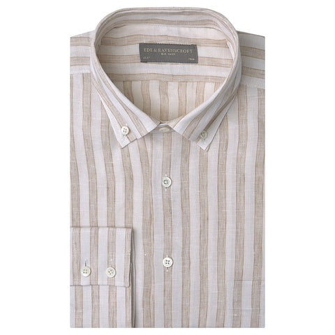 Angelo Ecru and Beige Bold Stripe Shirt