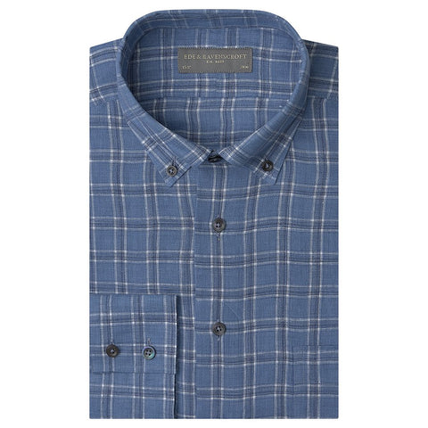 Angelo Blue and White Large Check Shirt