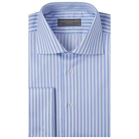 Adrian Blue and White Oxford Herringbone Stripe Shirt