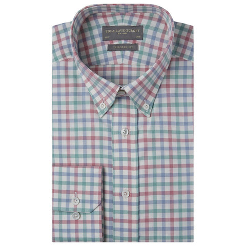 Alvin Pink Blue and Green Twill Cotton Shirt