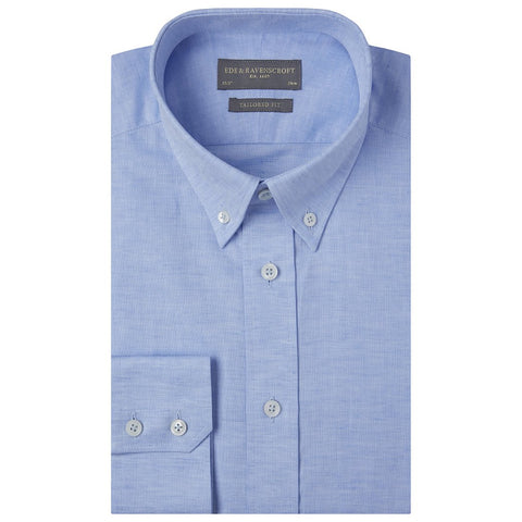 Alvin Pale Blue Cotton and Linen Oxford Shirt