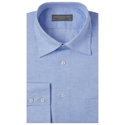 Aragon Pale Blue Cotton and Linen Oxford Shirt