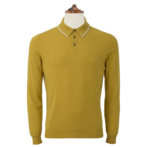 Kirkwell Ochre Long Sleeve Knitted Shirt