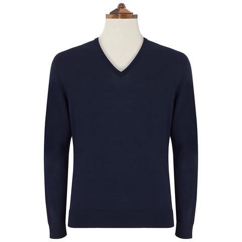 Kendrick Navy V Neck Long Sleeve Pullover