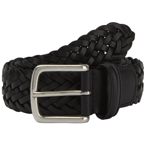 Black Plaited Leather Belt With Round Brass Buckle