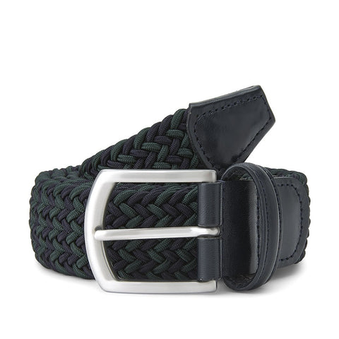 Navy and Green Elastic Belt with Silver Buckle