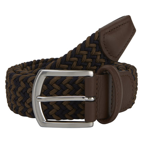 Brown and Navy Elastic Belt With Silver Buckle