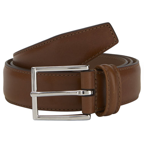 Tan Hard Leather Belt With Silver Buckle