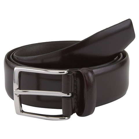 Burgundy Hard Leather Belt with Silver Buckle