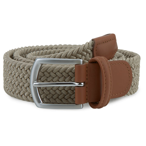 Beige Woven Elastic Belt with Silver Buckle
