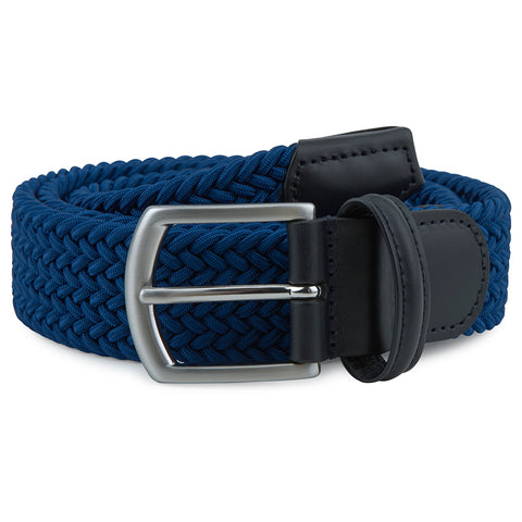 Blue Woven Elastic Belt with Silver Buckle