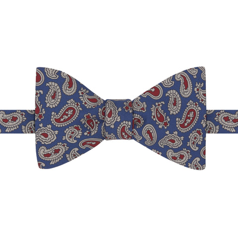 Navy Paisley Teardrop Butterfly Printed Silk Bow Tie