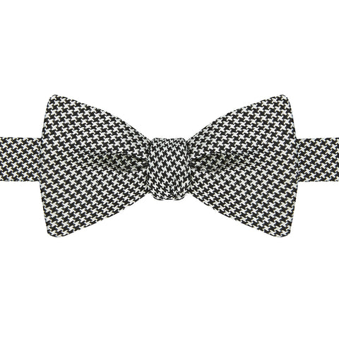 Black and White Houndstooth Silk Bow Tie
