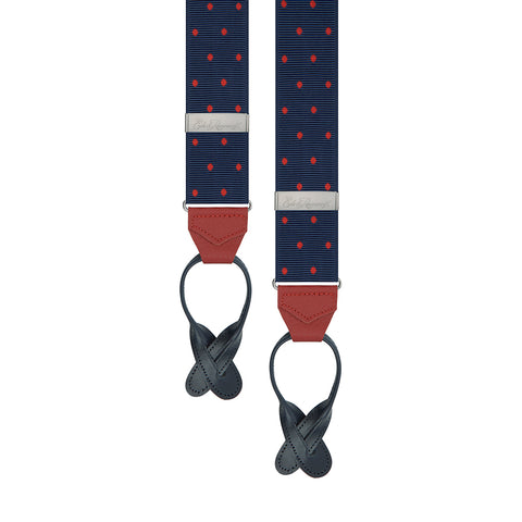 Navy and Red Spot Braces