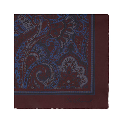 Burgundy Stylised Paisley Silk Pocket Square