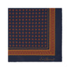 Navy and Red Geometric Silk Pocket Square