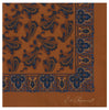 Orange Large Paisley Teardrop Silk Pocket Square