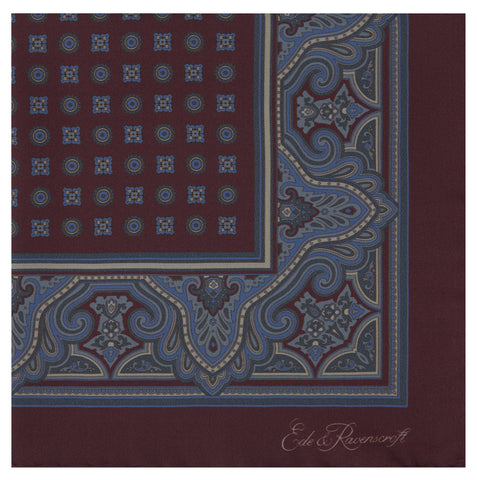 Burgundy Large Geometric Foulard Silk Pocket Square