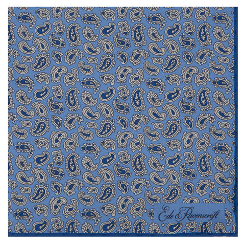 Blue Paisley Teardrop Silk Pocket Square