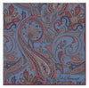 Blue Oversized Paisley Silk Pocket Square