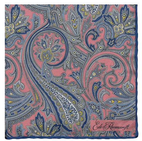 Pink Oversized Paisley Silk Pocket Square