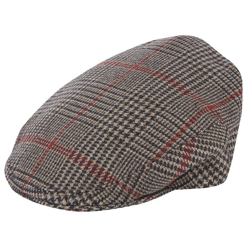 Heydon Brown and Red Check Flat Cap