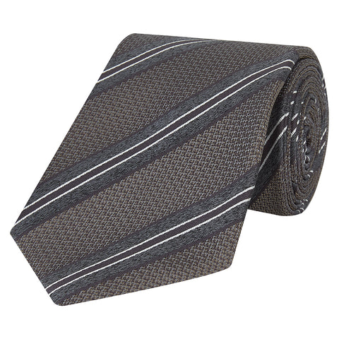 Grey Stripe Textured Silk Tie