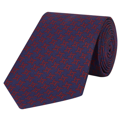 Burgundy and Navy Geo Silk Tie