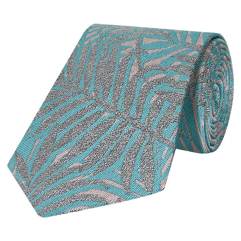 Teal and Pink Palm Silk Tie