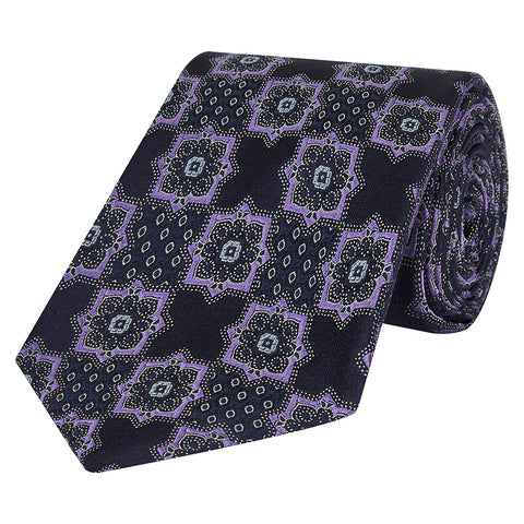 Navy and Lilac Large Geometric Flower Silk Tie