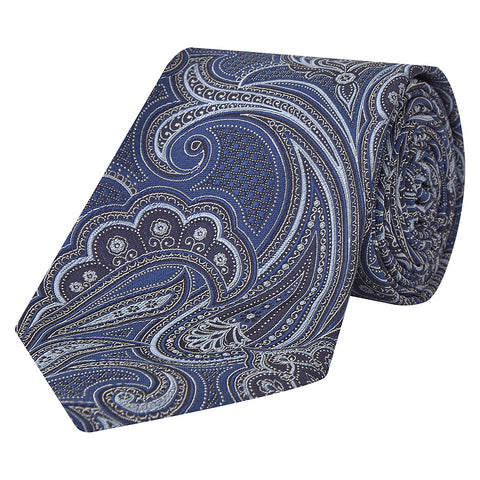 Navy and White Paisley Décor Silk Tie