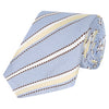 Blue and Yellow Stripe Grenadine Silk Tie