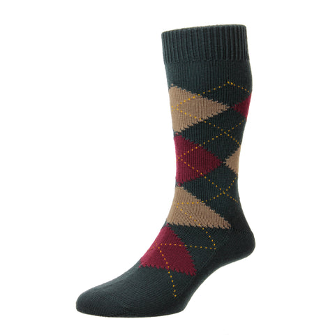 Racton Dark Green Argyle Sock