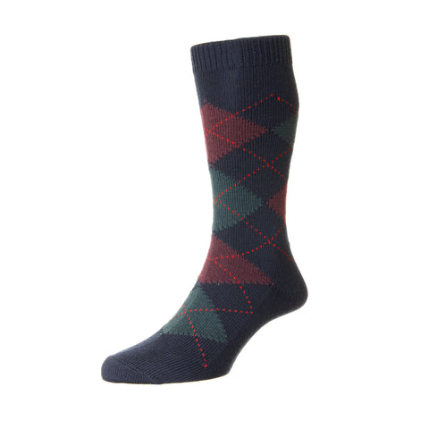 Racton Navy and Red Argyle Socks