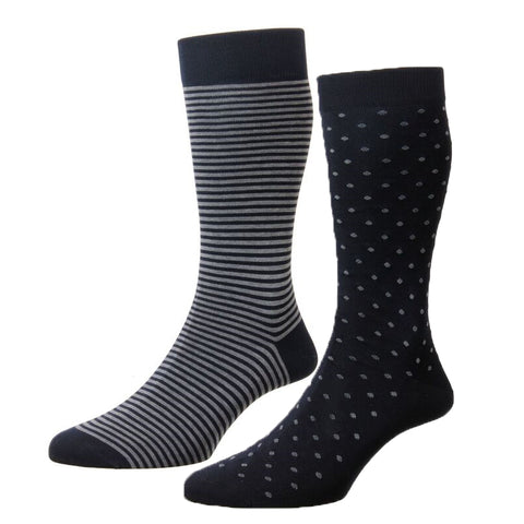 Navy and Blue Stripe and Spot Two Pair Pack Cotton Socks
