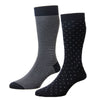 Navy and Blue Stripe and Spot Two Pair Pack Cotton Nylon Socks