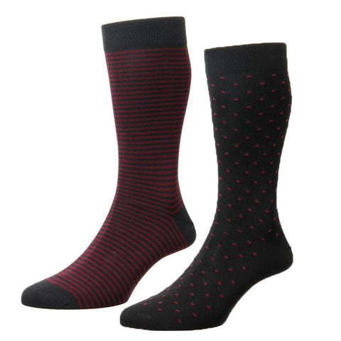 Charcoal and Red Stripe and Spot Two Pair Pack Cotton Nylon Socks