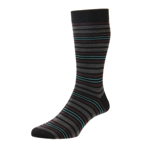 Scholey Black Repeated Stripe Socks