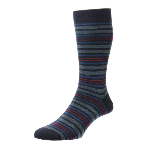 Scholey Navy Repeated Stripe Socks