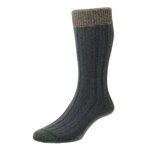 Bodiam Olive and Purple Birdseye Rib Contrast Top Socks