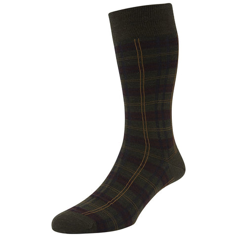Greenwich Green and Burgundy Tartan Socks