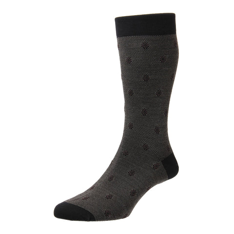 Buckley Black Birdseye Jacquard Motif Socks