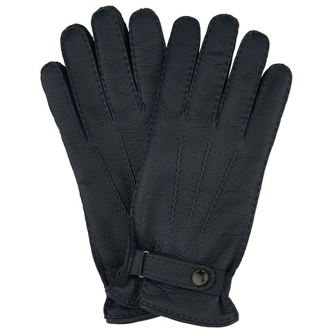 Navy Deerskin Leather Cashmere Lined Gloves