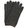 Green Herringbone Lambskin Leather Gloves