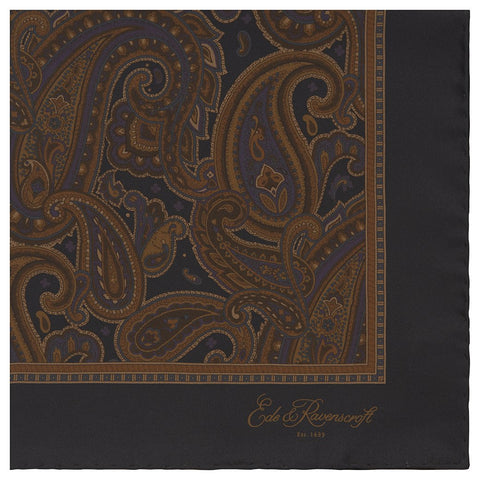 Black and Caramel Antique Paisley Printed Silk Pocket Square